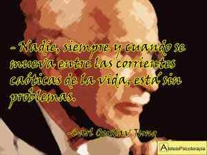 """""""Nadie, siempre y cuando se mueva entre las corrientes caóticas de la vida, está sin problemas"""". Carl Gustav Jung. #Aforismos #CarlGustavJung #Jung #Angustia #Consejos #Problemas #LaVida #Soledad #Aleteia #AleteiaPsicoterapia #Psicoterapia #Psychotherapy #Psicoanalisis #Psychoanalysis #Psicologia #Psychology #Pensamiento #Inteligencia #Yo #Ourense #Orense"""