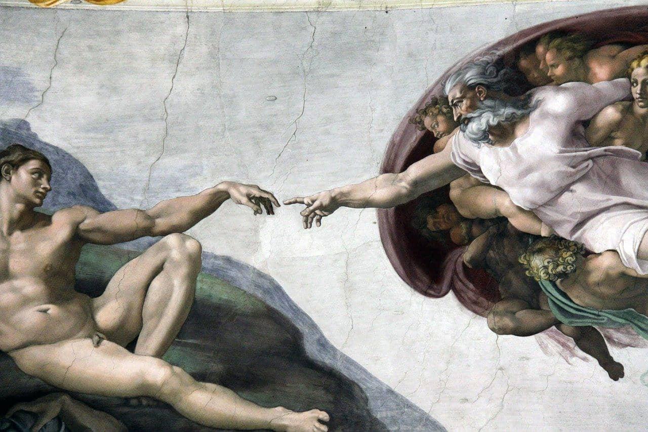 La creación de Adán, fresco de Miguel Ángel.